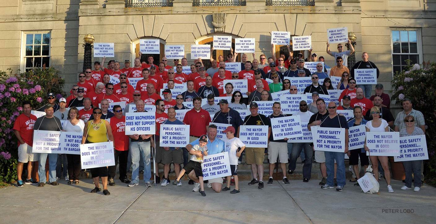 Waltham Police and Fire Stand In Unity During Informational Picket